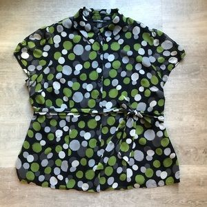 Style & Co. belted shirt blouse size L
